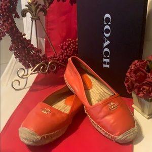 🤩🥰 Coach leather orange espadrilles size 6B